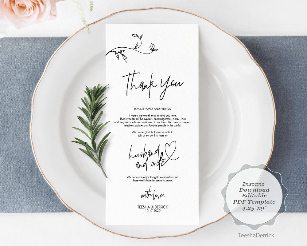 wedding place setting thank you card template instant pdf