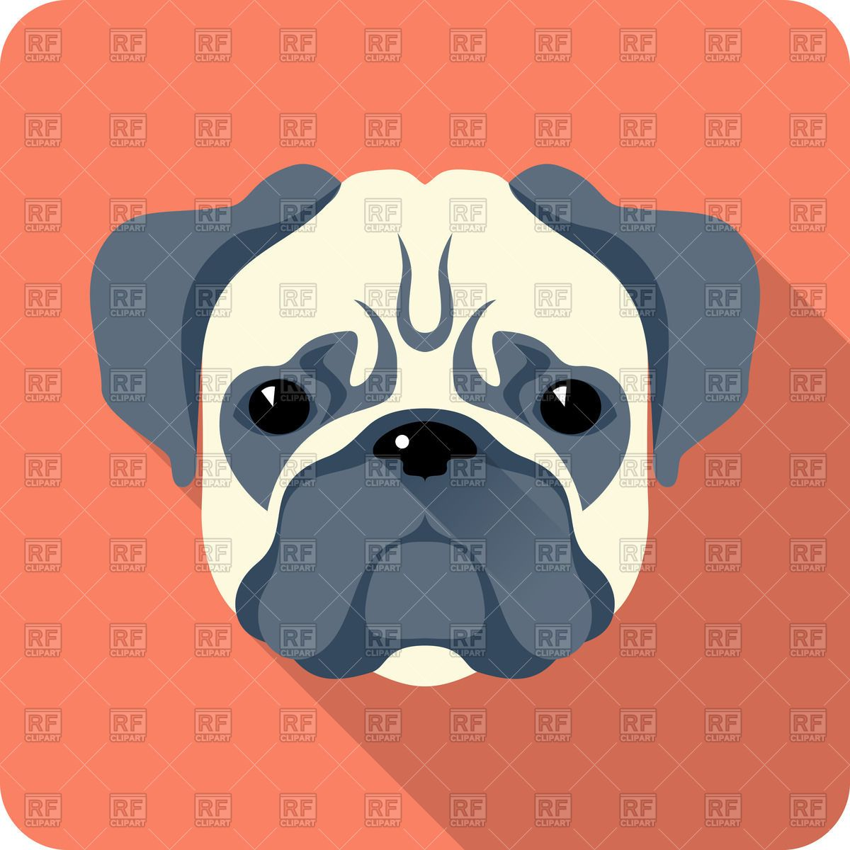Dog Pug Icon In Flat Style 43428 Icons And Emblems Download
