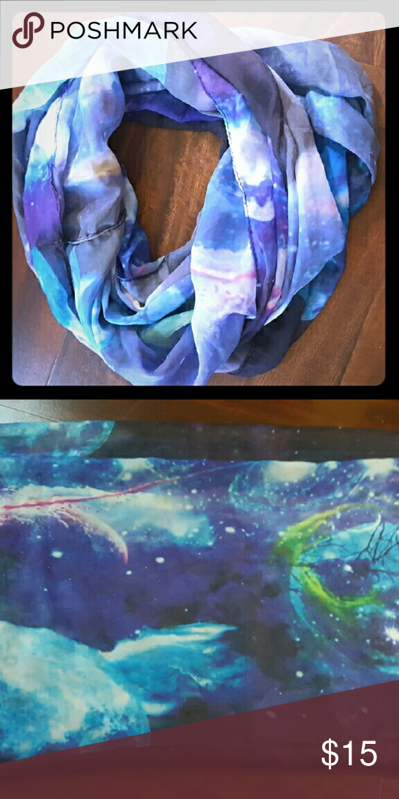 Sheer Galaxy Infinity Scarf From Hot Topic, this scarf is light weight and it is super cute! Hot Topic Accessories Scarves & Wraps