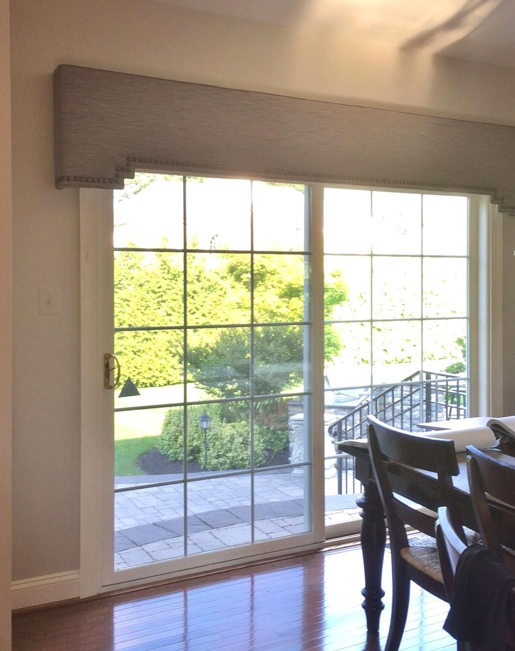 Sliding Door Cornice Board With Stepped Sides And Nailhead Trim By Kristine Robinson Of Rob In 2020 Sliding Door Window Treatments Sliding Door Curtains Door Coverings