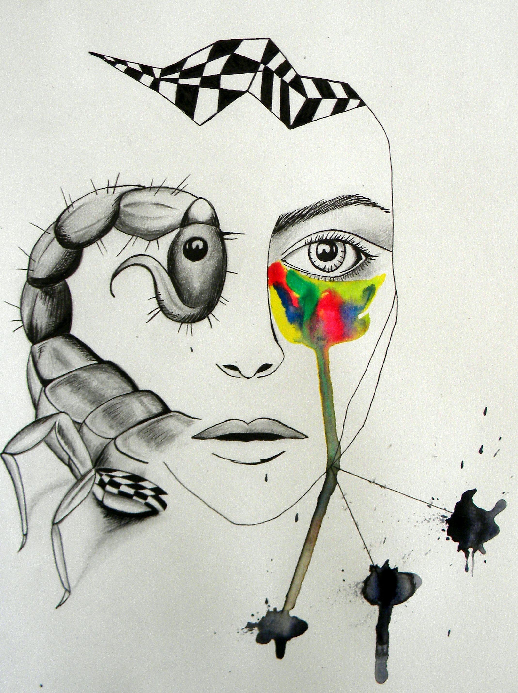 scorpio face, pencil, ink & water colours