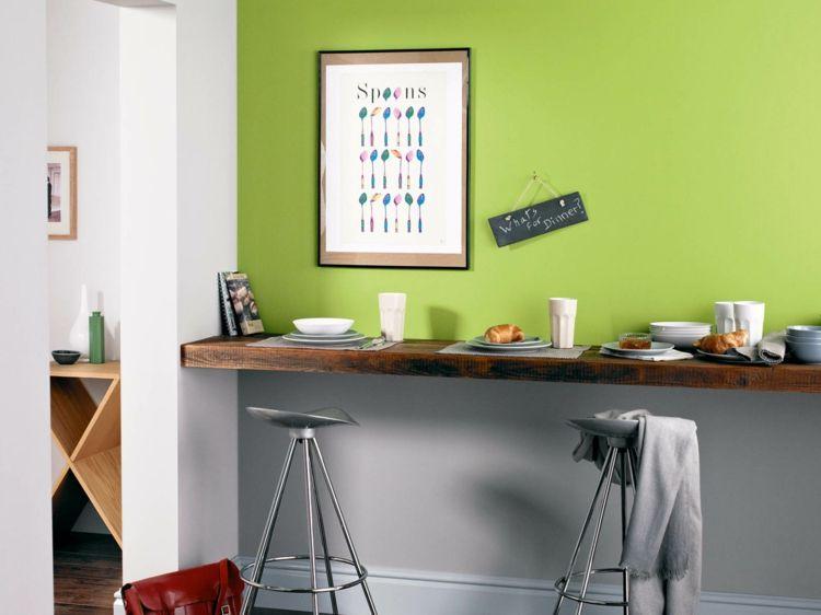 Wandfarben Inspiration Essplatz grau grasgrün Ideen Einrichtungen - graue moebel einrichtung modern ideen