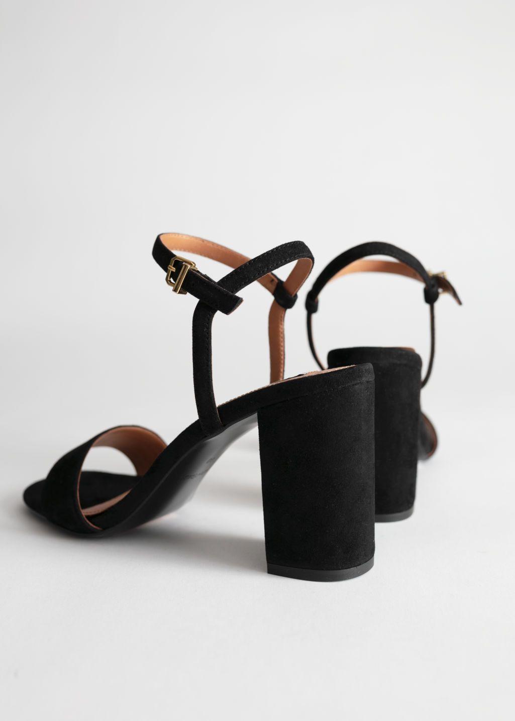 Strappy Block Heel Suede Sandals in