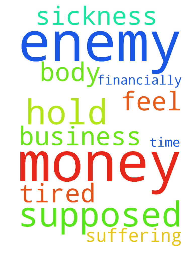 The enemy is hold my money im supposed to get and im - The enemy is hold my money im supposed to get and im suffering financially , sickness in my body i feel tired all the time, business also Posted at: https://prayerrequest.com/t/L59 #pray #prayer #request #prayerrequest