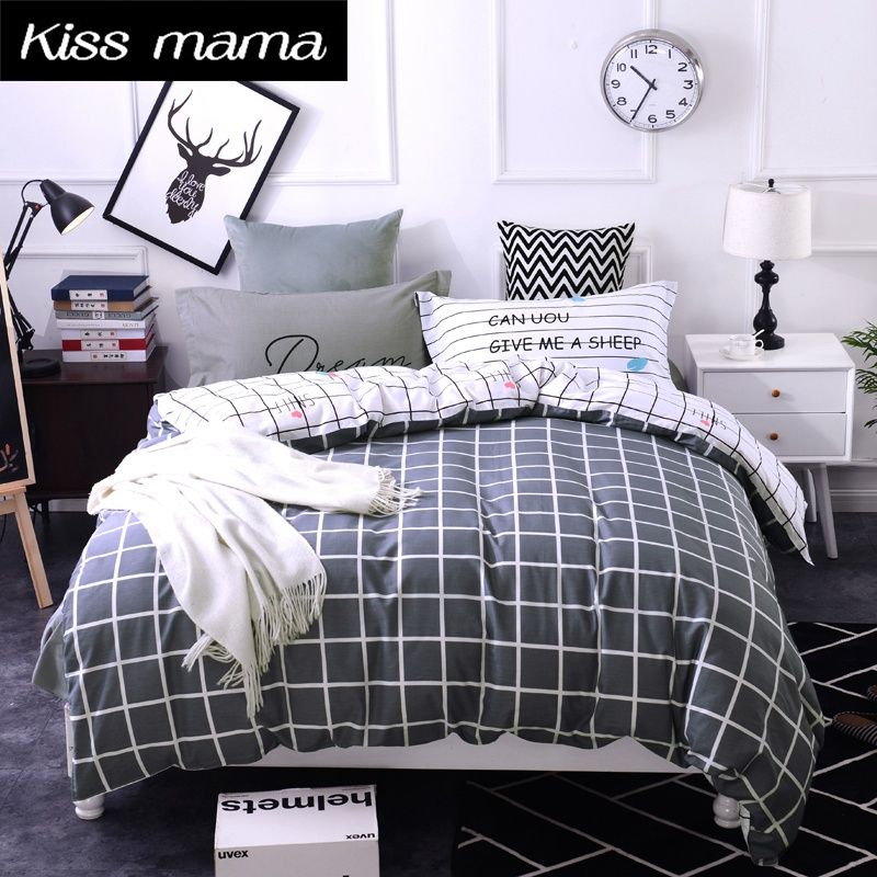 Beau 100% Cotton Bedding Set King Size Nordic Duvet Cover Set Custom Size Bed  Clothes Grey