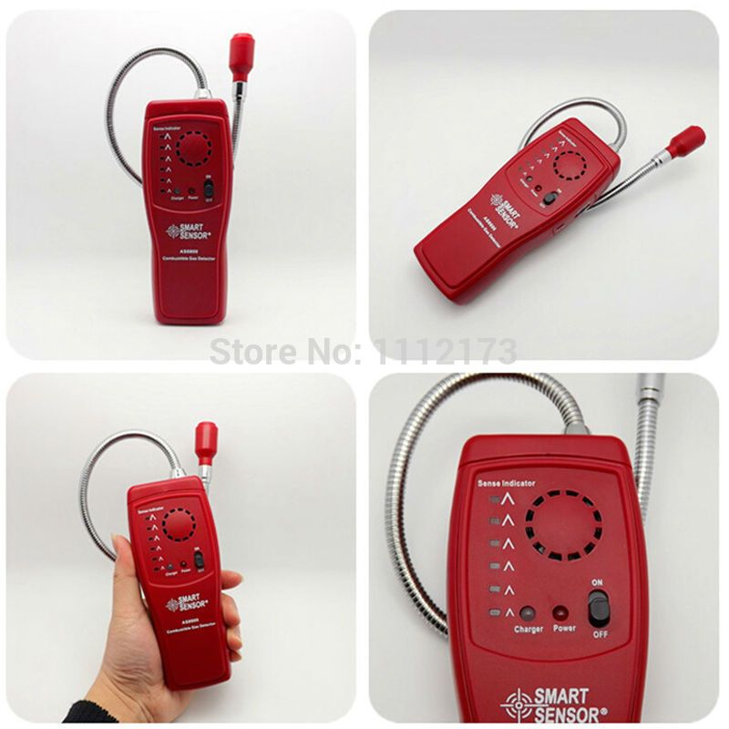 Digital Combustible Gas Analyzer Hand Held Port Flammable Gas Leak Detector With Sound Light Alarm Battery Detector Gas Leaks
