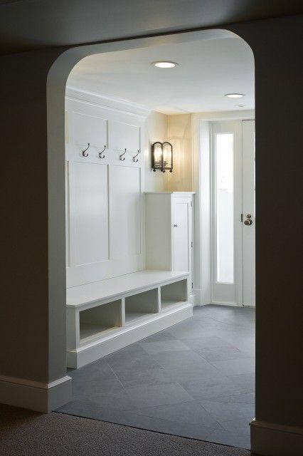 Laundry Mud Rooms White Built Ins Slate Tiles Floor Huge Mudroom With Slate Tiles