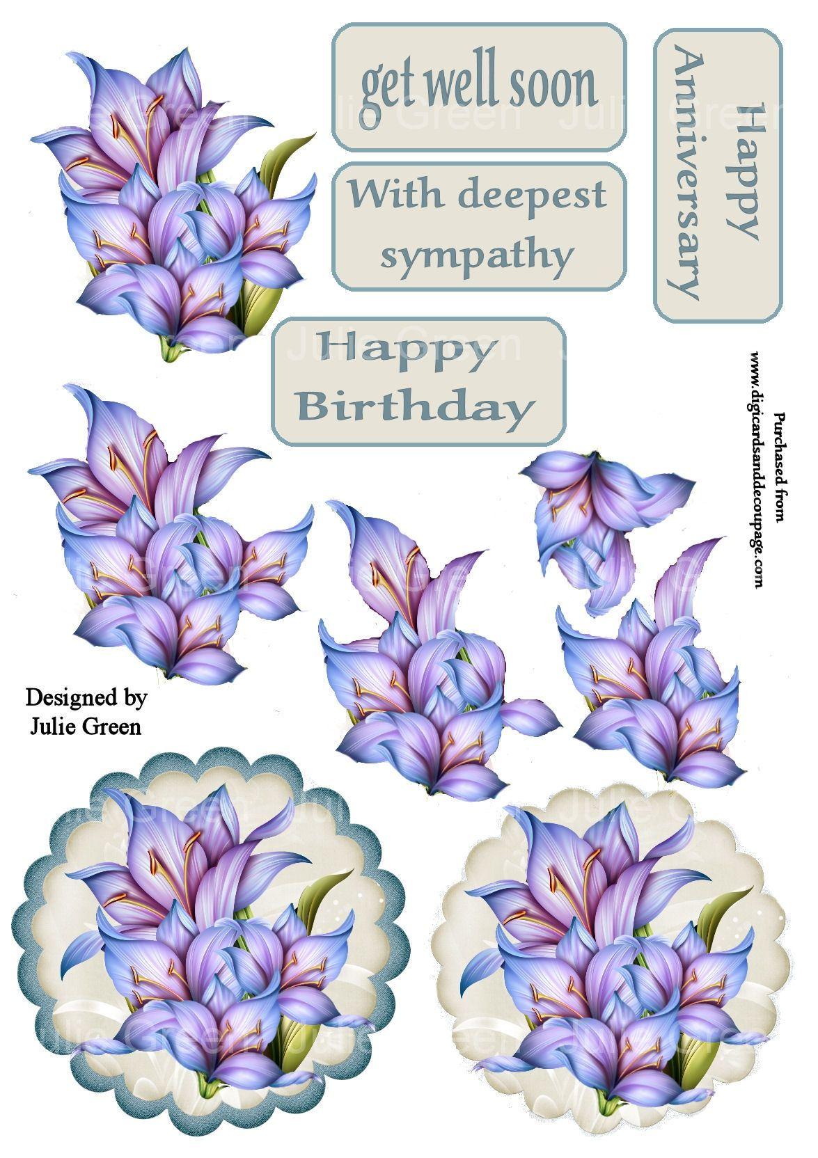Paper Flowers Decoupage Printables Christmas Decoupage