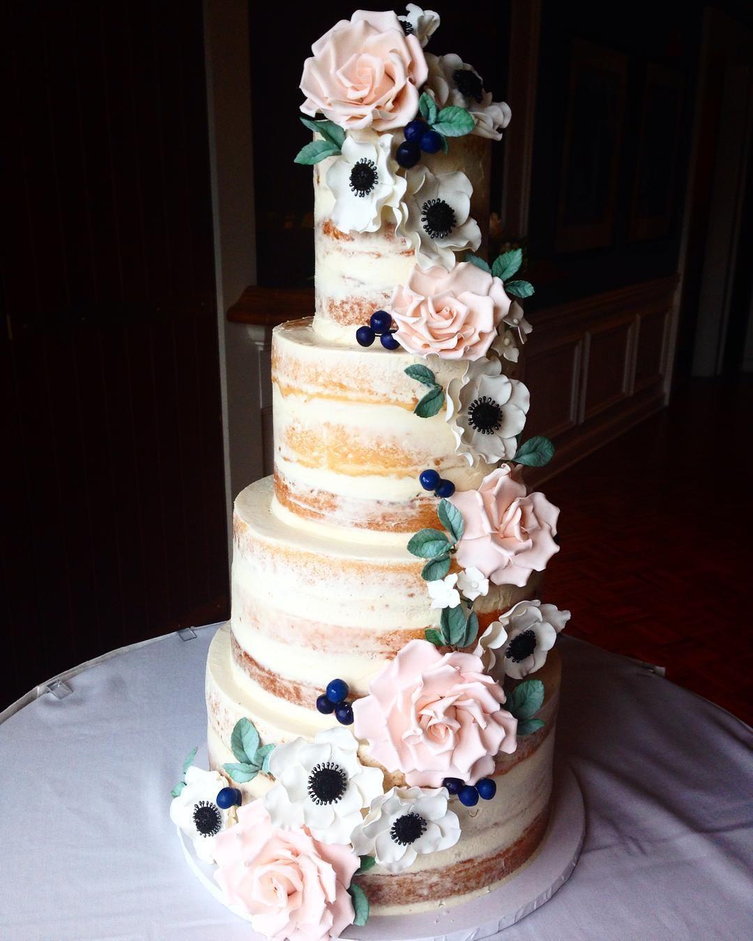 "Wedding Cake Sugar Flowers: ""Full View Of This Naked Cake Stunner! Sugar Roses"