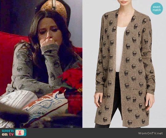 a81edb5a13 Quinn s skull print cardigan on Scandal. Outfit Details  http   wornontv.