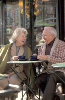 Senior Couple Having Coffee Together Stock Photo Viejitos