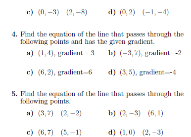 Straight line equations worksheet (with solutions): A worksheet on ...