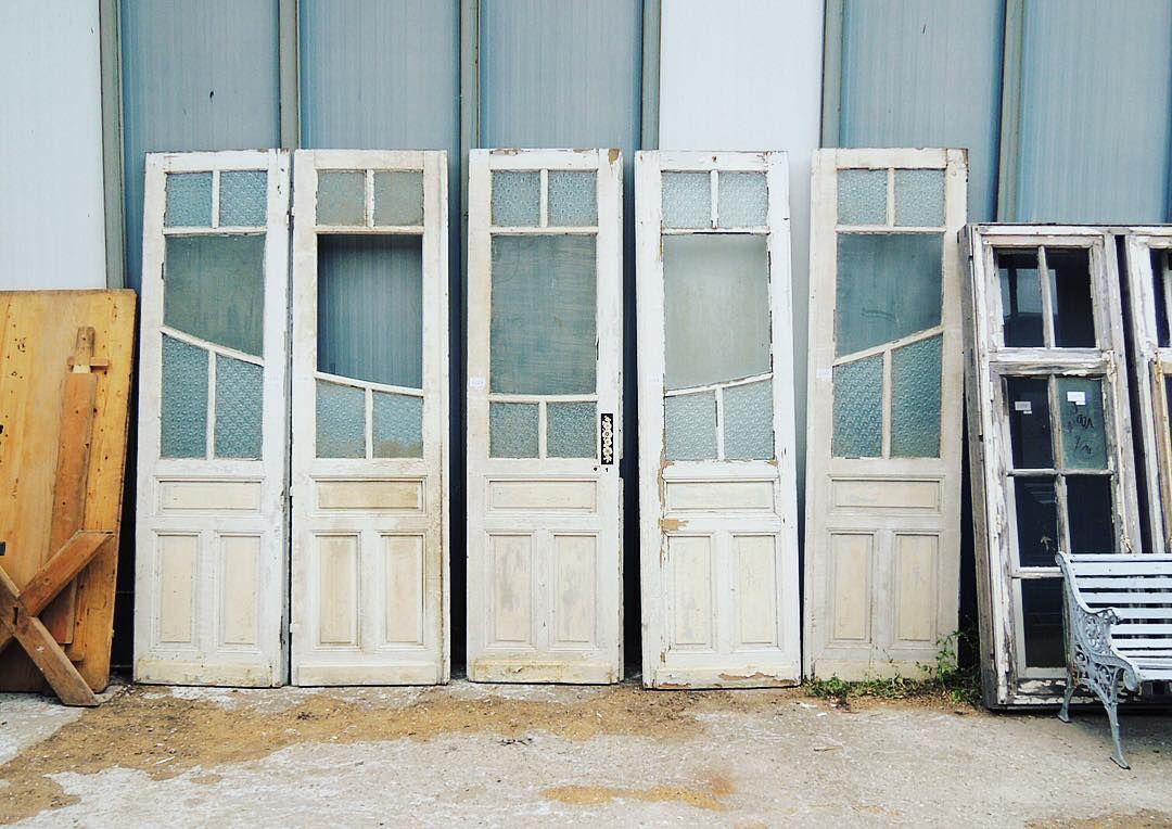 フランスアンティーク レエンダ アンティーク建具 アンティークドア ガラスドア 観音ドア 5枚セット シャビ