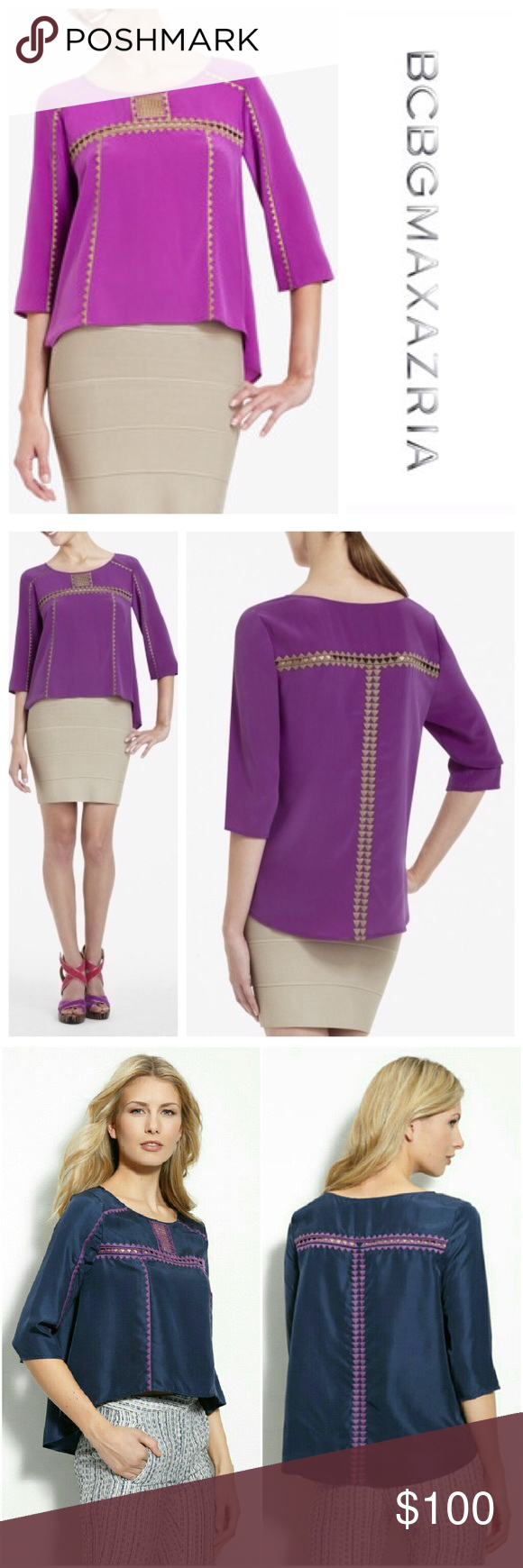 Mara Embroidered Silk Blouse BCBGMaxAzaria Silk Embroidered Tunic Top. Size Small. New. Imported. 100% Silk. Round neck. Three-quarter length sleeves. Allover contrast Embroidered detail. Hem is longer at sides. 20.75' from shoulder to hem. 🍇Please send reasonable offers through the offer button !🍇 BCBGMaxAzria Tops Tunics