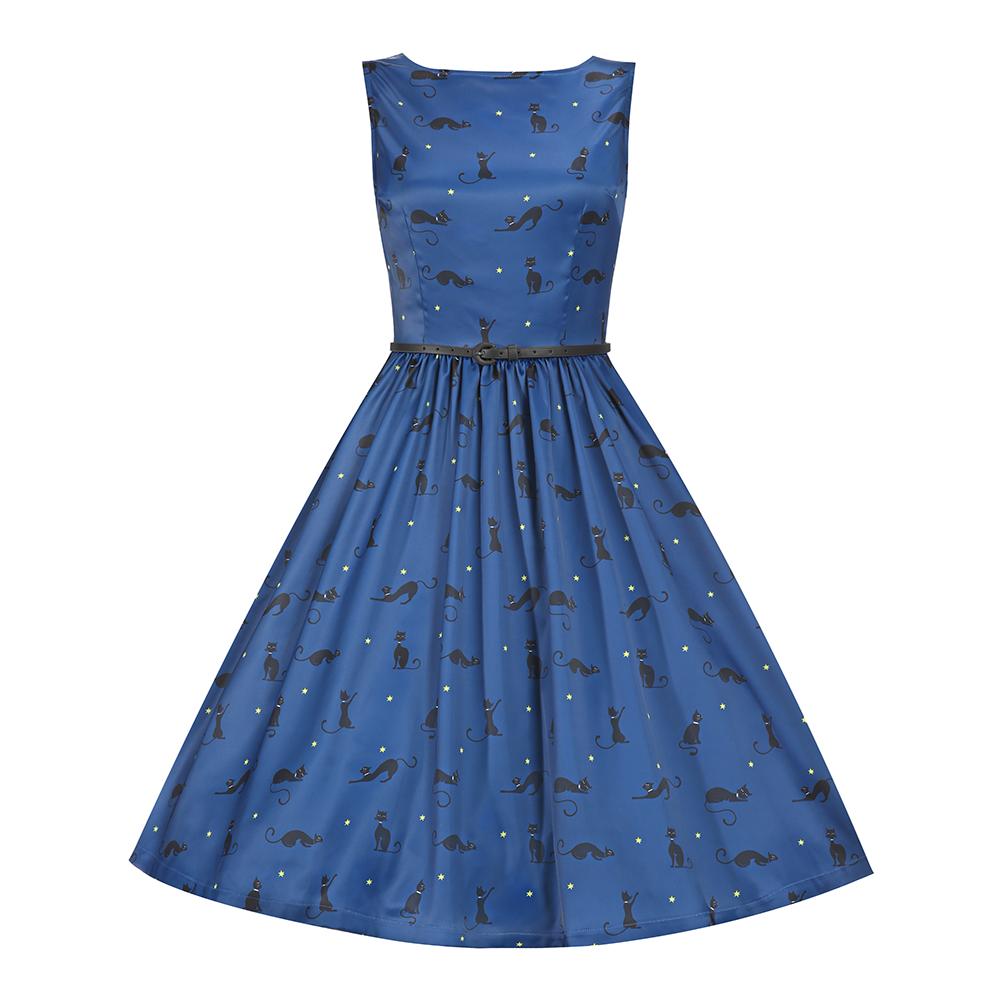 Audrey\' Midnight Blue Cat Print Swing Dress   Blue cats, Midnight ...