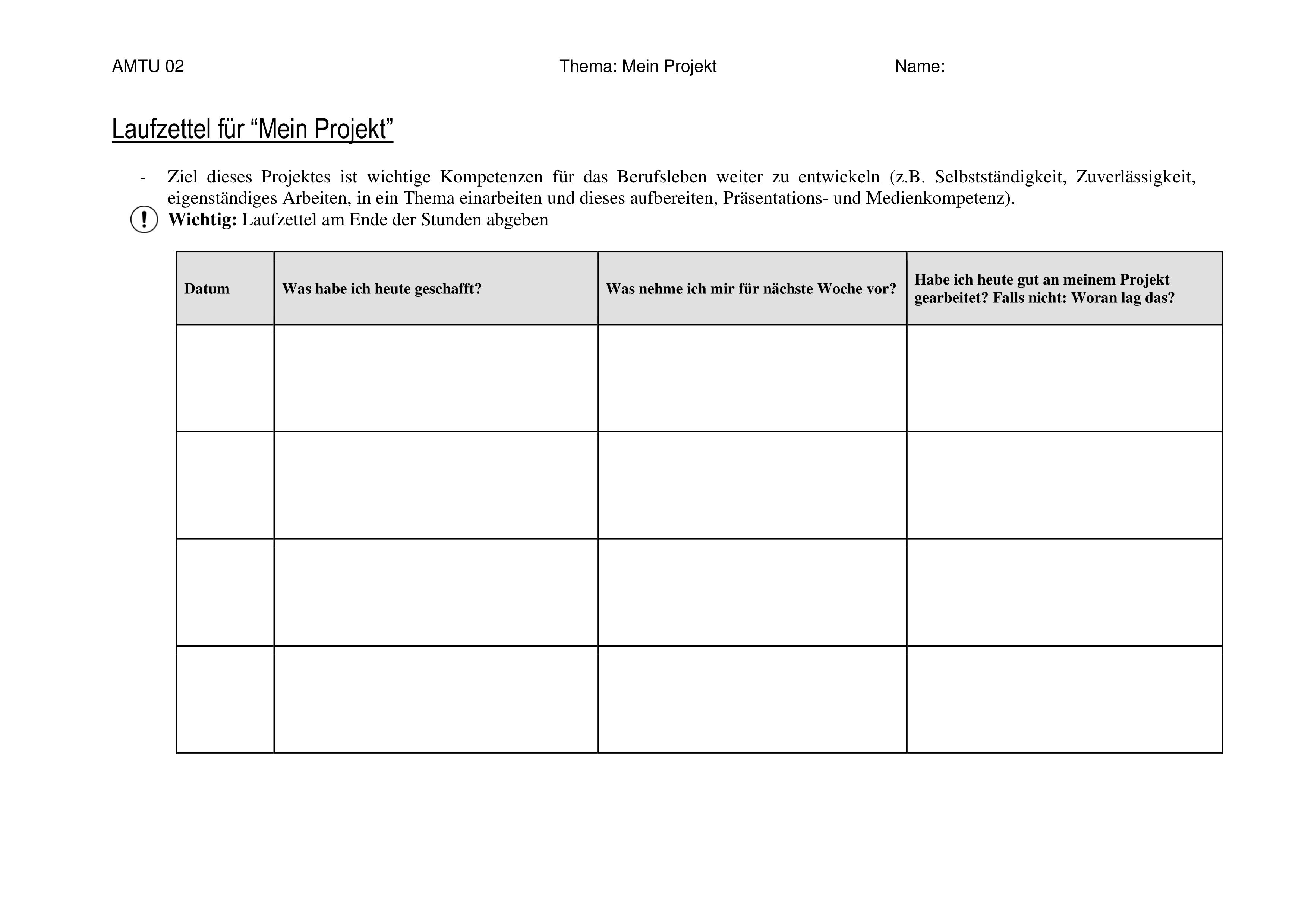 Laufzettel Eigenes Projekt Ausbildungsvorbereitung Unterrichtsmaterial In Den Fachern Arbeitslehre Berufsschule Bs Deutsch Fachubergreifendes In 2020 Ausbildung Berufsschule Berufsorientierung