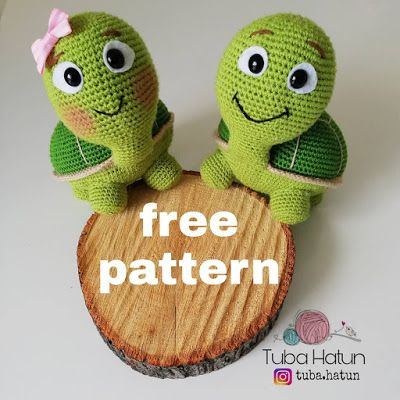 Amigurumi Kaplumbağa Tospik Yapılışı- Amigurumi Turtle Tospik Free Pattern (Turkish and English Version) #crochetamigurumifreepatterns