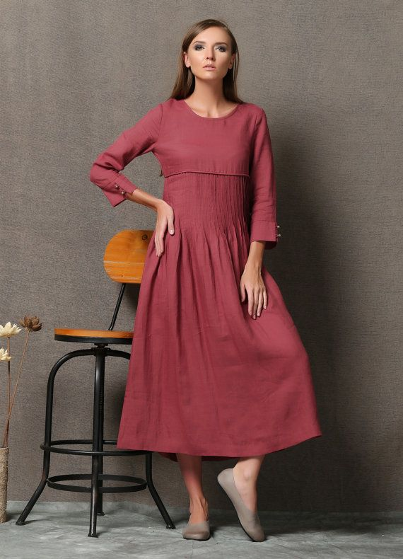 7f28e5f00ad0 Maxi Linen Dress Raspberry Red Long Sleeved by YL1dress on Etsy