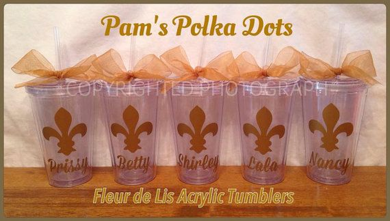 Personalized FLEUR DE LIS Clear Acrylic Tumblers with Name below. Handmade by Pam's Polka Dots.