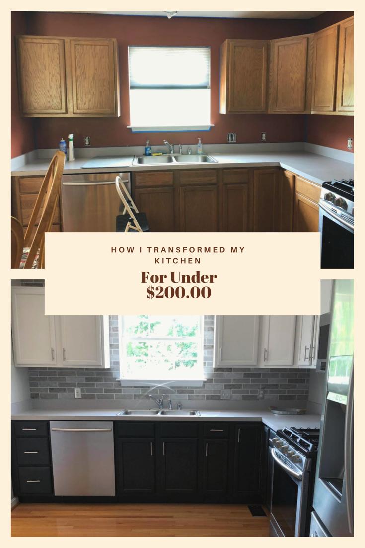 How I Transformed My Kitchen Cabinets And Back Splash For Under 200 00 In 2020 Redo Kitchen Cabinets Kitchen Diy Makeover Diy Kitchen Renovation