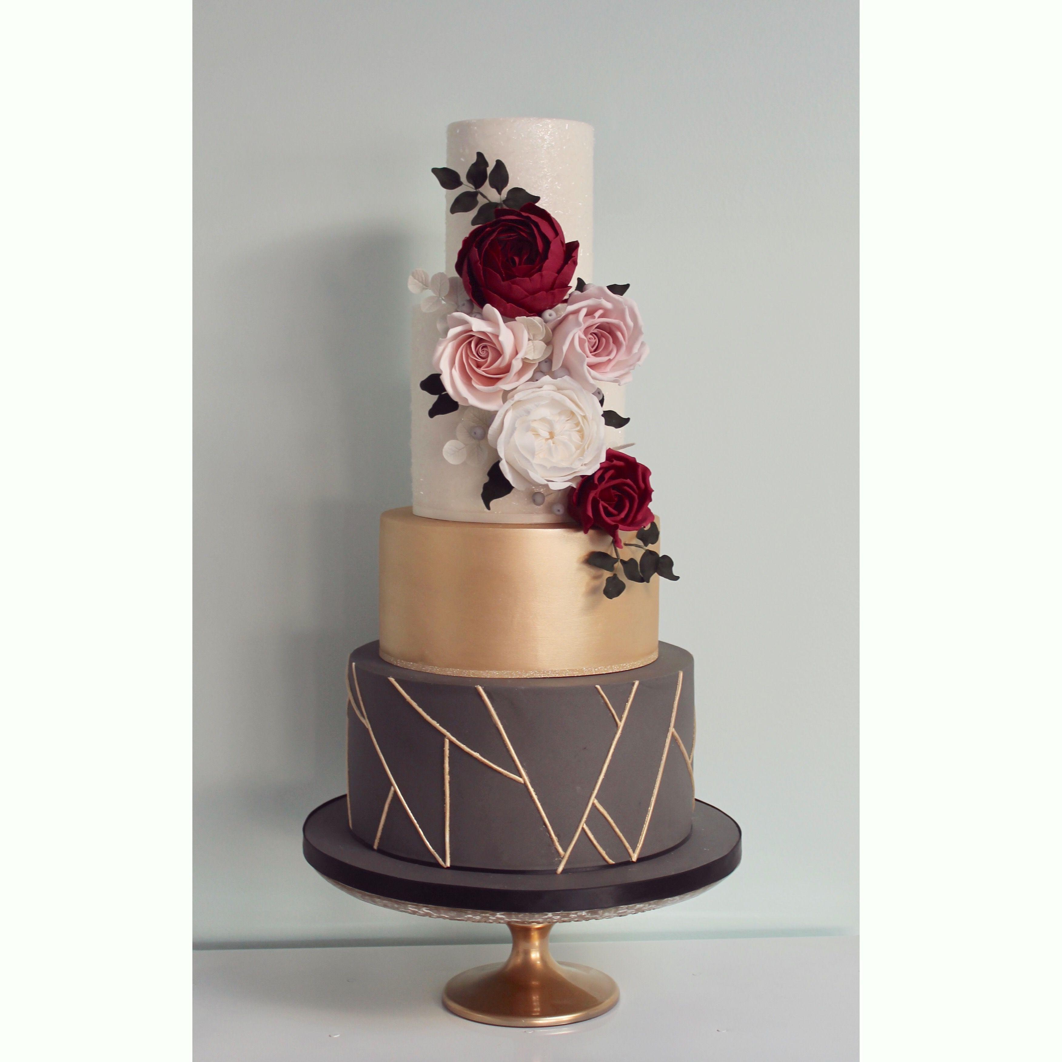 Slate Grey Gold Geometric And Burgundy Wedding Cake By Wish Upon A