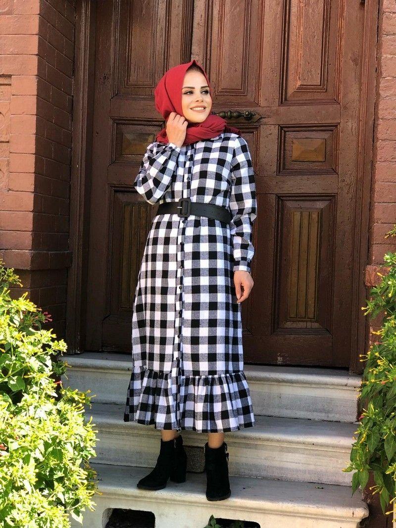 Modaonur Tesettur Ekose Gomlek Elbise Modelleri Moda Tesettur Giyim Gomlek Elbise Ekose Gomlek Moda Stilleri
