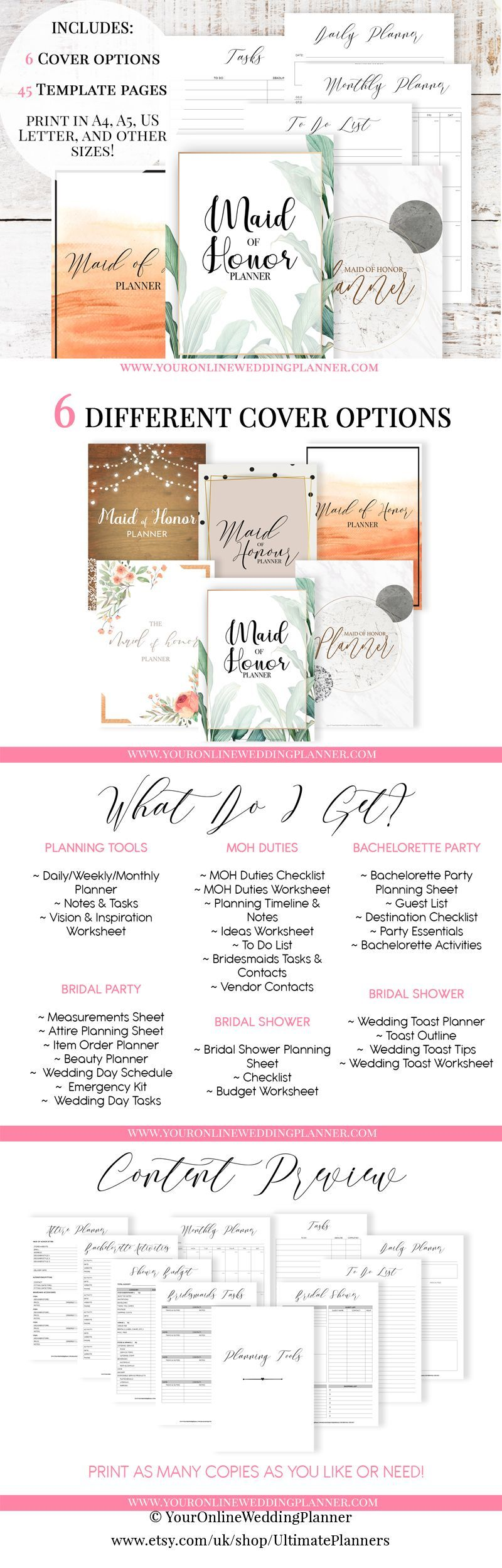Maid Of Honor Planner Wedding Planner Printable Maid Of Honour Planner Wedding Printables Ma In 2020 Wedding Planner Printables Wedding Planner Book Wedding Planner