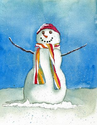 Deb watson 39 s free watercolor lesson how to paint snowman Christmas card scenes to paint
