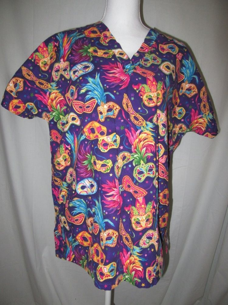 0ebb3c3d Mardi Gras Theme Nurse Medical Scrub Top Mad About Scrubs Size Large or X  Large #MadAboutScrubs