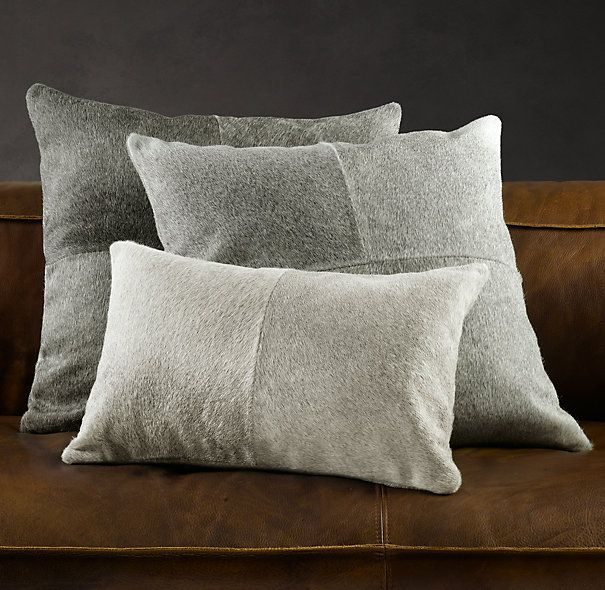 South American Cowhide Pillow Cover Grey Cowhide Pillows