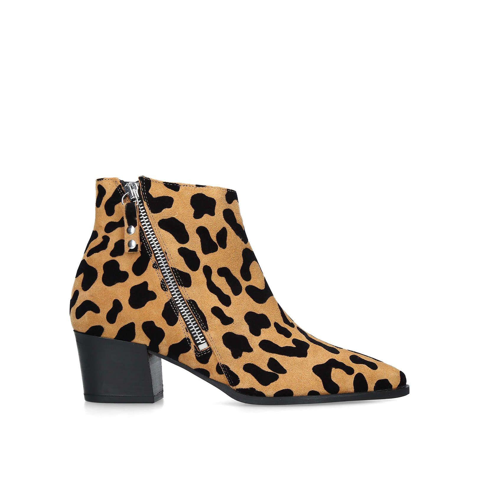 leopard print ankle boots block heel