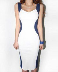 $10.50 Glamour Shoulder Straps Color Block Backless Jag Sleeveless Bodycon Dress For Women