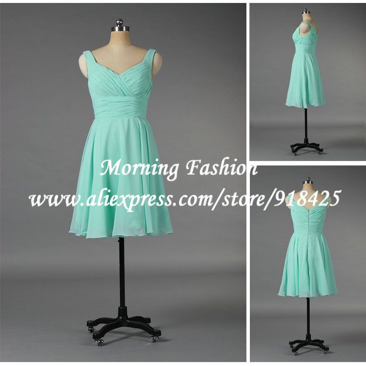 Free Shipping Country Style Chiffon Turquoise Bridesmaid Dress Short ...
