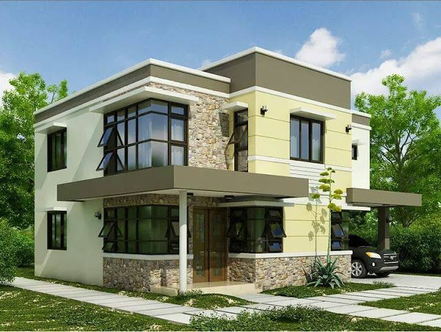 Two Floor Houses With 3rd Floor Serving As A Roof Deck Modern House Plans Minimalist House Design House Designs Exterior