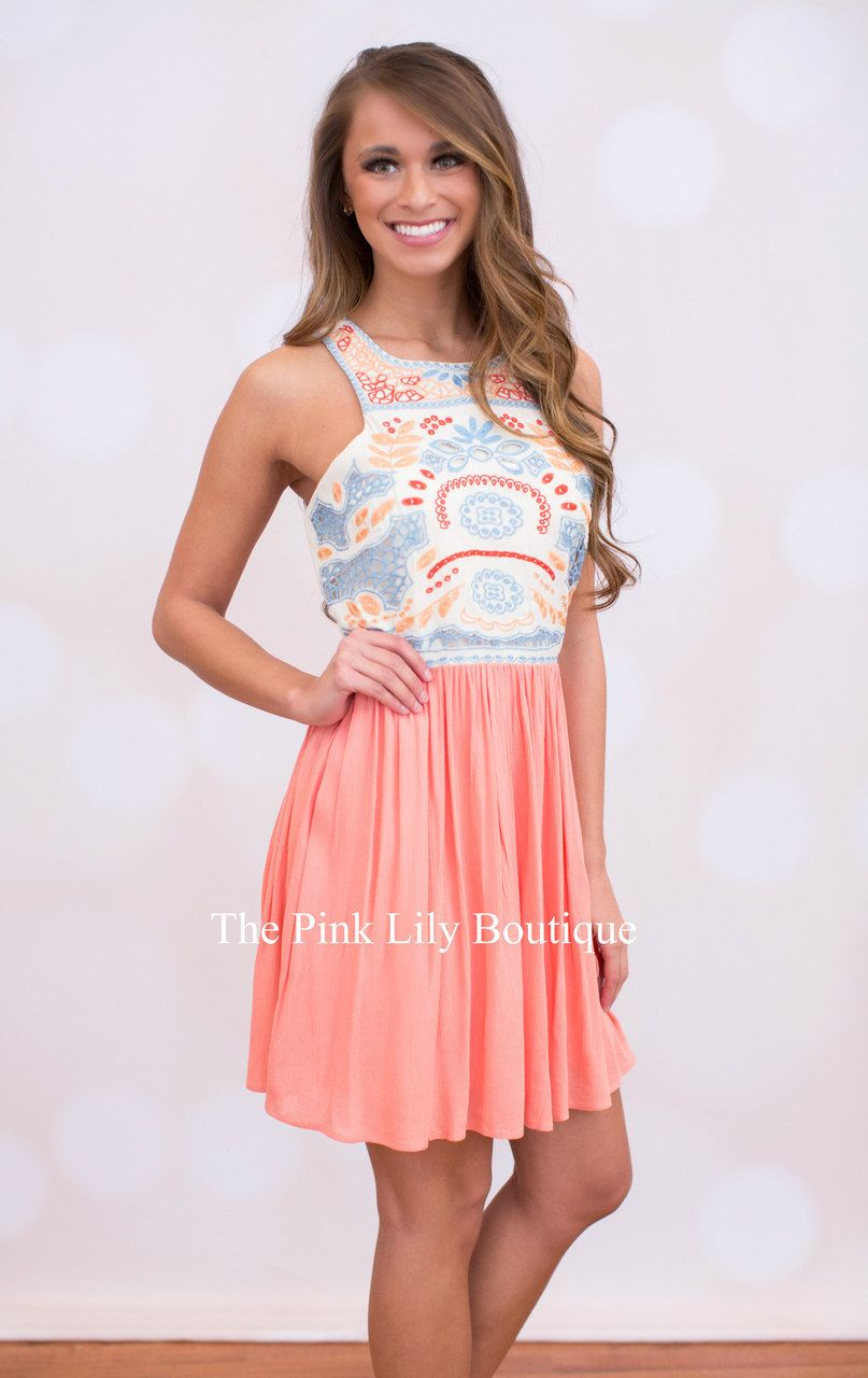 Pretty In Peach Dress - The Pink Lily Boutique | Random | Pinterest