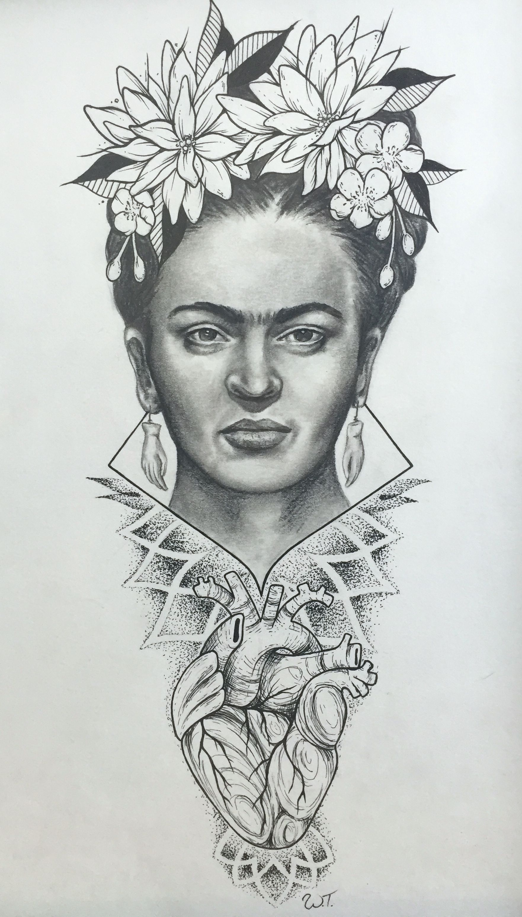 Original Drawing Of Frida Kahlo By Tattoo Artist Whitney Thompson Drawings Kahlo Paintings Frida Kahlo Drawing