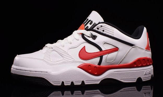 The Nike Air Force III Low White/Red-Black brings classic colors to a  classic model. Crisp white leather on the 1988 design gives way to .