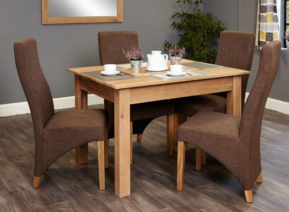 Baumhaus Mobel Oak Dining Table And 4 Hazelnut Fabric Chairs Oak