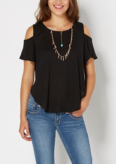 566be86ef8872 Black Ribbed Knit Cold Shoulder Top