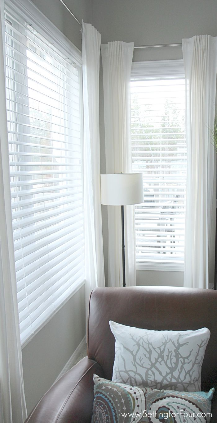 Family room window treatment makeover how to choose and install gorgeous double bevel edge horizontal blinds with the classic look of shutters but no big