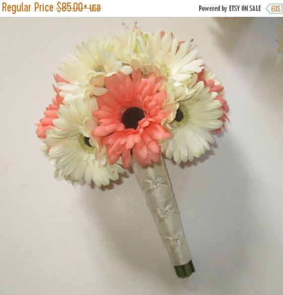 Sale Gerbera Daisy Wedding Bouquet, Silk Wedding Bouquet, Gerbera Daisies,  Coral and White, Marsala Gerberas, Wedding Floral Package by shannonkristina on Etsy https://www.etsy.com/listing/98385155/sale-gerbera-daisy-wedding-bouquet-silk