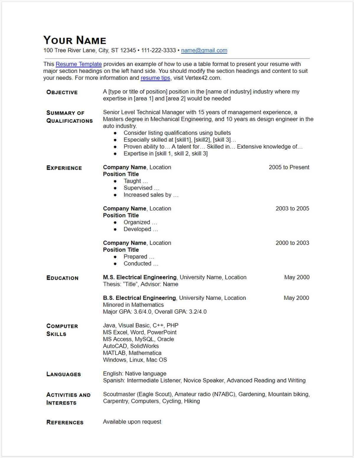 Download Free Blank Resume Form Template in 2020 Free
