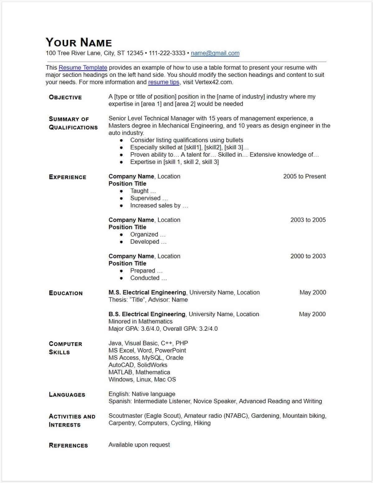 30 Google Docs Resume Templates [Downloadable PDFs