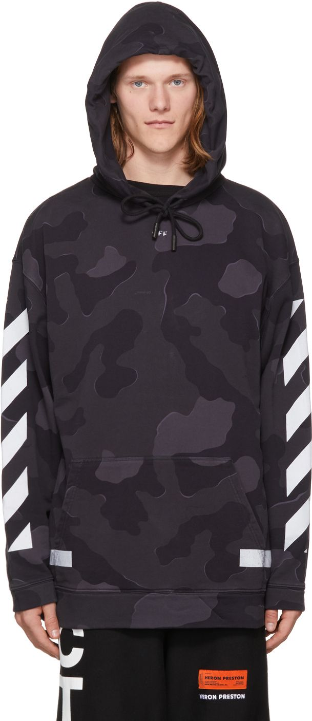 dcacc15dd0a70 Off-White - SSENSE Exclusive Black Camouflage Diagonal Arrows Hoodie ...