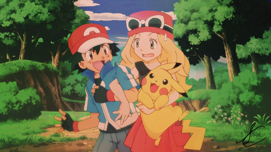 pokemon x y anime ash serena pikachu by sidselc pokemon
