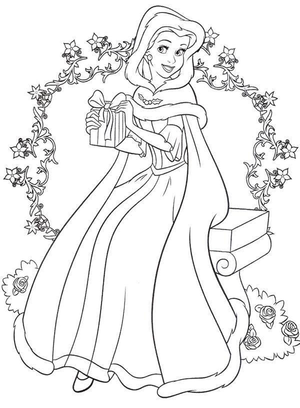 Christmas Disney Princess Coloring Page