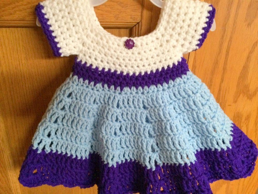 Handmade Crochet Sugar N Spice Dress - Preemie/NB (to 7lbs) Purple, Blue & White #Handmade #DressyEverydayHolidayPageantWedding