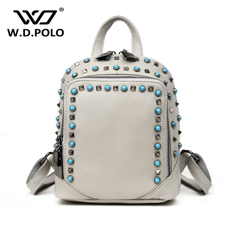 WDPOLO Genuine leather women stud backpack lady blue stone bijoux hand bag  high chic design girls 9e6c50074c203