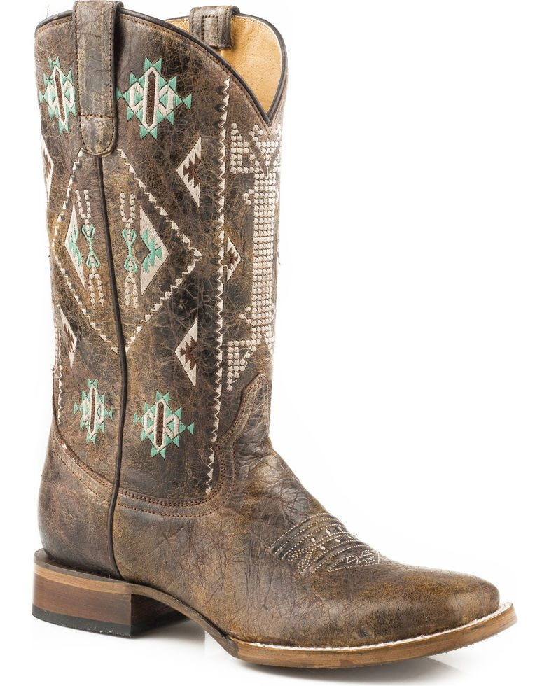 63050084960 Roper Women's Out West Aztec Embroidered Cowgirl Boots - Square Toe ...