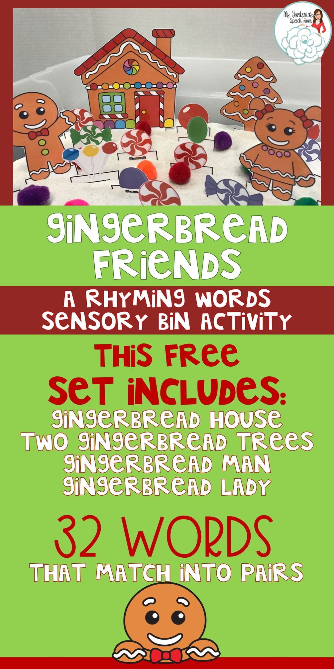 Gingerbread Man And Friends A Rhyming Words Sensory Bin
